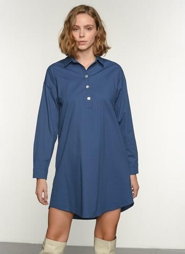 NGSTYLE Kadın Yarım Patlı Poplin Elbise NGKSS21EL0017 İndigo